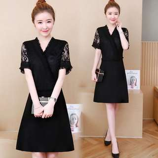 🚚 (L-5XL) 2018 summer Korean version of the large size women was thin short sleeves lace stitching long dress