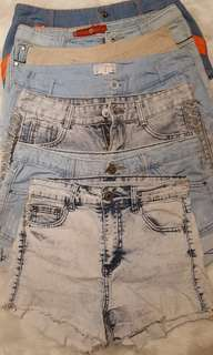 Bundle!! Branded Highwaist Shorts, Denim, Acid Washed, Khaki