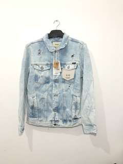 Pull and Bear Ripped Denim Jacket