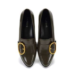 復刻版 尖頭皮鞋 平底鞋-橄欖綠23
