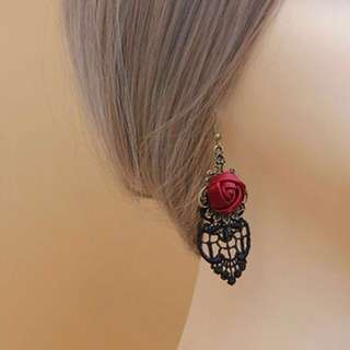 Victorian Red Rose dangle hook earrings