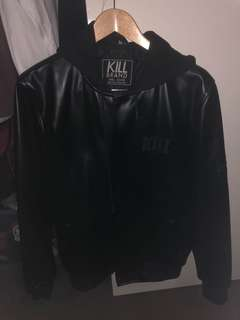 Kill Brand Leather Hoodie