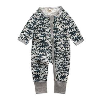 Baby Kids Boys Girls Grey Fish Bone Sleepsuit (Newborn - 2years)
