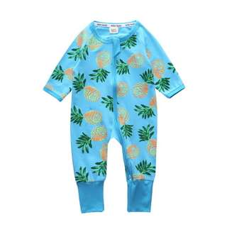 Baby Kids Boys Girls Blue Pinapples Sleepsuit (Newborn - 2years)