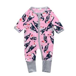 Baby Kids Boys Girls Pink Hornbill Sleepsuit (Newborn - 2years)