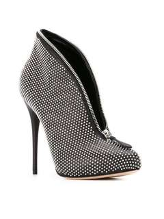 Alexander McQueen silver studded deep V zipper black leather heels booties