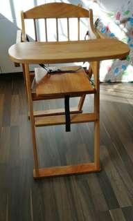 可摺 木highchair 9成新