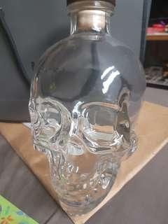 Empty Skull Vodka Glass Bottle