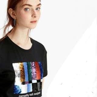 Stradivarius Short Sequinned T-shirt