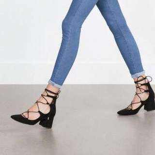 Zara Ghillie Block Lace up Heels