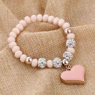 BN  Heart Pendant Shamballa Beads Bracelet