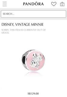 Authentic Pandora Disney Vintage Minnie Charm PO