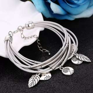 BN Silver Charm Leaves Tibetant Silver Multilayer Bracelets