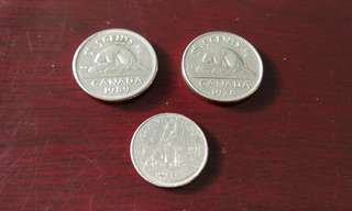 Canada vintage currency coin (3 pcs)加拿大币