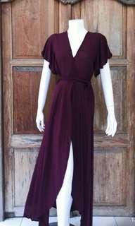 Tropical long wrap dress
