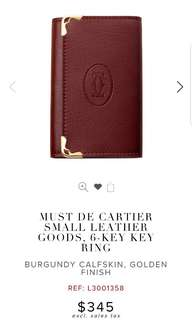 Cartier Red  burgundy key holder Ref 7 318 4167 酒紅色鎖匙包