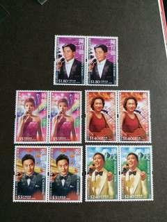 香港郵票 全新著名歌星梅艷芳,羅文,張國榮,陳百強二套