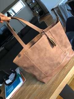 Target tan suede handbag with tassel