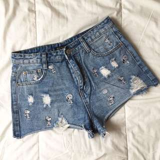 Embroidered Snoopy Denim Shorts