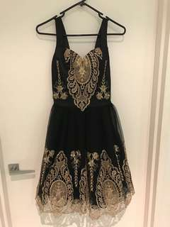 Gorgeous black and gold prom dress
