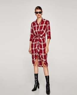 Zara tartan front knot midi shirt dress dress - SIZE XS-S - BNWT