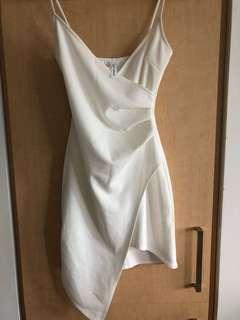 M Boutique White Wrap Bodycon Dress Size Small