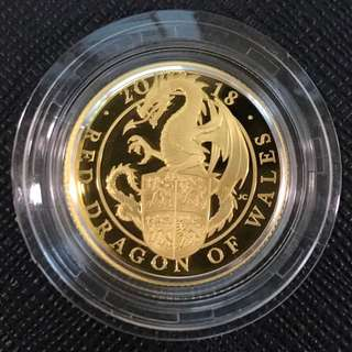 Great Britain Queen's Beasts Red Dragon of Wales Proof 2018 Gold Coin
