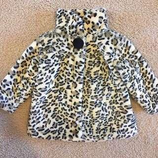 Kids Size 2 leopard faux fur coat