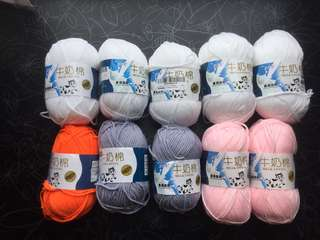 Milk cotton yarn, 10 skeins