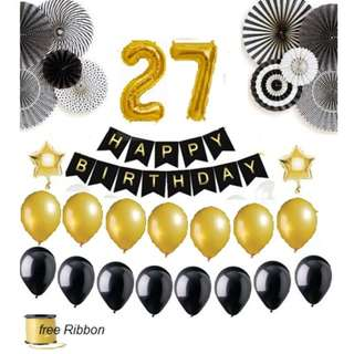 Basic Birthday Party Decors (Black Bundle) SET3