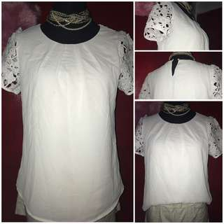 White lace sleeves