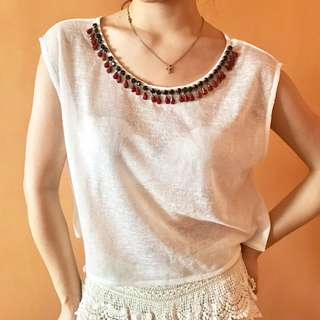 Folded and Hung Comfy White Crop Top fits xs-m