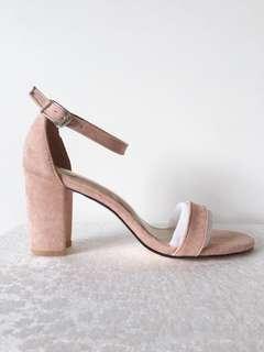 Nude Pink Suede Heels