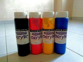 Acrylic paint - set of 4 : blue, yellow black red