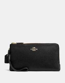 BN Coach double zip wristlet wallet