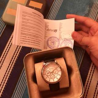 AUTHENTIC FOSSIL LEATHER WATCH (Silver)