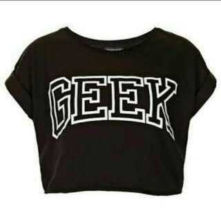Geek Black Crop Top