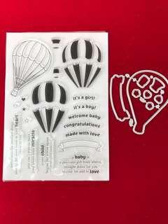 Balloon scrapbook stamp and dies