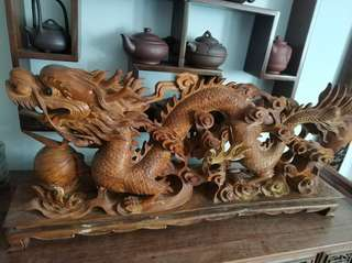 Vintage wood dragon sculpture