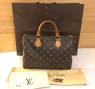 LV speedy 30 mono 2009 with padlock, key, dustbag, rec and paperbag