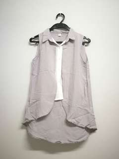 1 pcs Grey Sleeveless Top