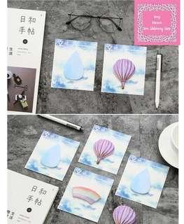 1pc Beautiful Day Memo Pad (Rainbow/Cloud/Water/Hot Air Balloon