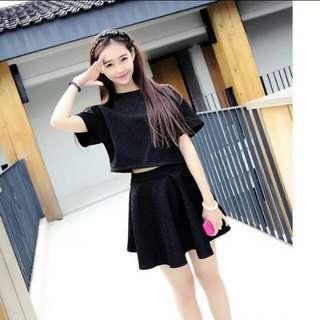 All Black Two Piece Dress / High Waist Mini-Skirt / Crop Top