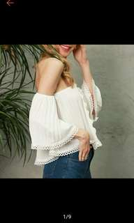 Women Sexy Halter White Lace Off Shoulder Top Sleeve (Ships in 5-7days)