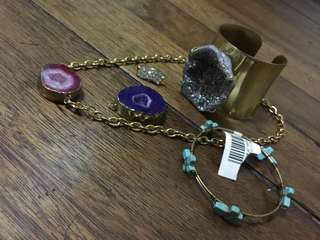 Bangles, necklace and clip
