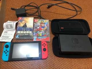 🚚 Nintendo switch + 遊戲片(薩爾達&瑪莉歐-奧德賽)+ 保護盒
