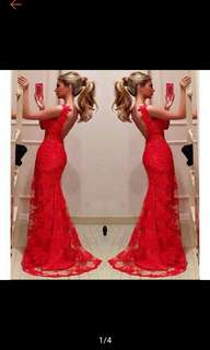 Red Bodycon Mermaid Evening Bridal Party Gowns