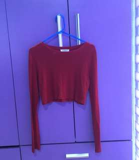 F21 Red Cropped Top