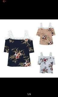 Hot Slae Summer Sexy Women Elegant Lace Off Shoulder Floral Print