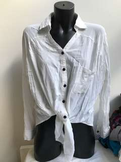 White front tie up collared blouse top